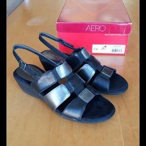 Aerosoles Barbados silver and black leather sandal